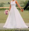 Čipkované biele svadobné šaty