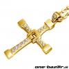 Vin Diesel kríž + náhrdelník, retiazka-Zlatá farba